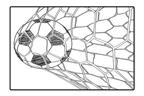 (Collection Area Rug Soccer Ball in Net Goaly Position Sports Competition Spectators Hand Drawn Style Print Black White Ideal Anti Slip 5'x7')