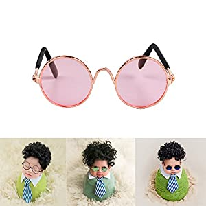 Zeroest Baby Photography Props Sunglasses Newborn Boy Photo Shoot Outfits Infant Glasses (Pink)