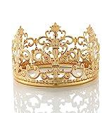 Poplife Vintage Mini Princess Crown Cake Topper Crown Cake Topper Small Wedding Cake Top Birthday Party Decoration (Scrub Rose Gold)