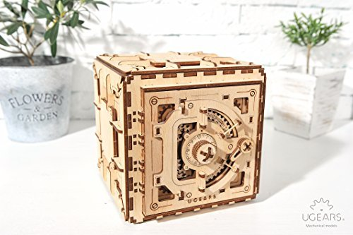 Ugears Mechanical 3D Safe, Valentine's Gifts, Adult Puzzle, Wooden Brain Teaser, Kids And Teens IQ Game for $<!--$59.90-->
