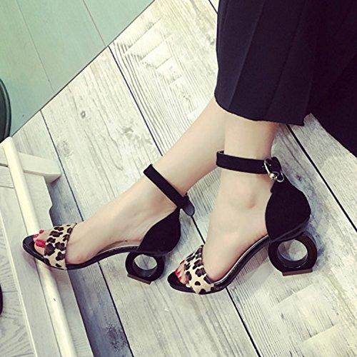 Azbro Mujer Sandalias de Tacón Extraño con Corea Tobillo Puntera Abierta Negro