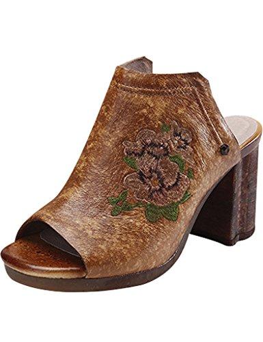 Youlee Mujeres Verano Bordado Tacón Alto Sandalias Cuero Zapatos camello