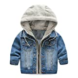 UWESPRING Kids Boy Hooded Denim Jackets Coats Lapel Zipper Pocket Jeans Outerwear 4T