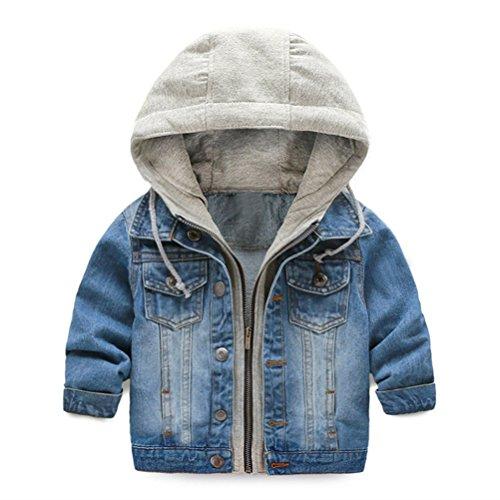 UWESPRING Kids Boy Hooded Denim Jackets Coats Lapel Zipper Pocket Jeans Outerwear 4T by UWESPRING