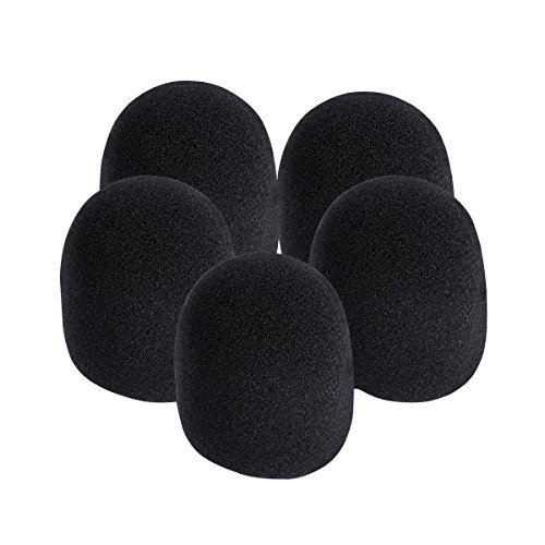 On-Stage Foam Ball-Type Black Microphone Windscreen, 5-Pack (Foam Windscreen Mic)