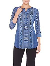 Abstract Stripe Henley Tunic IndigoTribal M