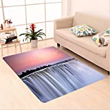 Nalahome Custom carpet ection Grand Majestic Waterfalls View at Sunset in Africa Wild Mist Exotic Land Photo White Pink area rugs for Living Dining Room Bedroom Hallway Office Carpet (5' X 7')