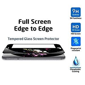 iphone 6C Screen protector, KuGi ® Ultra-thin 9H Hardness Full coverage HD clear Premium Tempered Glass Screen Protector for Apple iphone 6C smartphone (Black)
