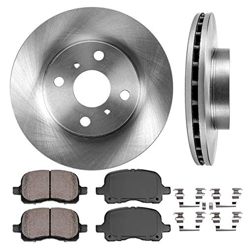 FRONT 255 mm Premium OE 4 Lug [2] Brake Disc Rotors + [4] Ceramic Brake Pads + Clips