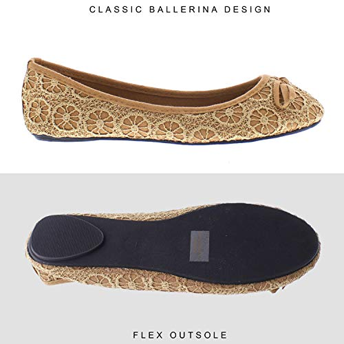 86f822842a9 Gold Toe Lauren Womens Lace Comfort Ballet Flat,Dressy Formal Bridal  Wedding Flats,Womans Dress Shoes for Bride Tan 6 M US