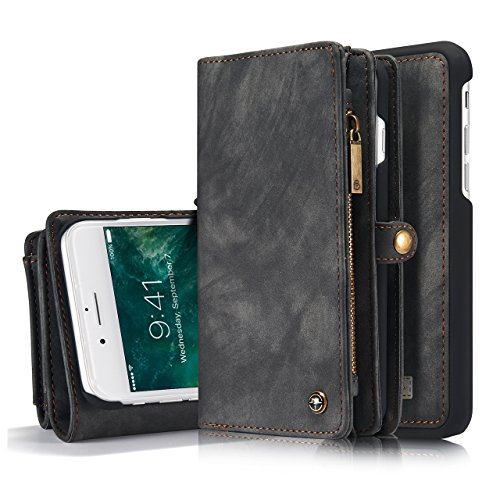 iPhone 7 Case,HIPICB Folio Zipper Purse Leather Detachable Magnetic Case with Flip Cover and Stand [Credit Card Slot][Stand] for Apple iPhone 7 4.7 inch (Black) by HIPICB