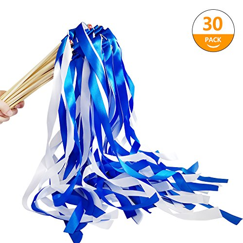 Hangnuo 30 Pack Ribbon Wands Wedding Streamers with Bells, Fairy Stick Wand Party Favors for Baby Shower Holiday Celebration, Blue White