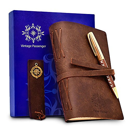 LEATHER JOURNAL SET - 4 IN 1 HANDMADE Notebook With Leather Bookmark, Elegant Pen and GIFT Box – VINTAGE Travel Diary For Writing, Taking Notes, Sketching, Drawing, Planning, Men, Women - Journal Mans