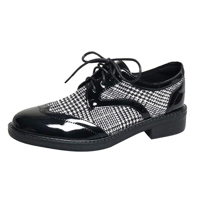 Mujer Mocasines con Cordones De Las Mujeres Oxfords Zapatos Planos Sin Cordones: Amazon.es: Ropa y accesorios