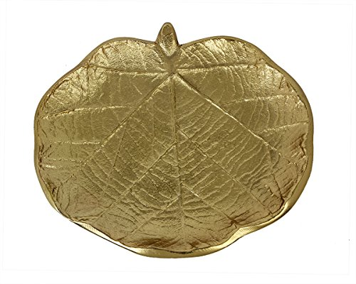 storeindya Thanksgiving gifts Trinket Dish Gold Dish Trinket Plate Decorative Platter Fruit Platters Antique Platter Handmade With Nickel Finish Trinket Tray (Classy Leaf Collection)