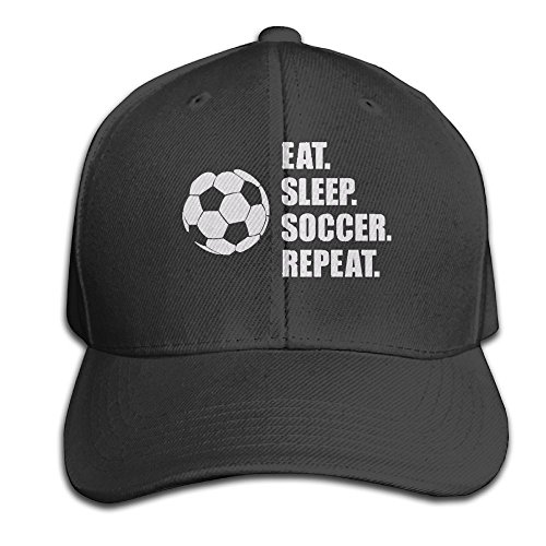 Jugs Soccer Machine (YY0XXAD Hat TeeStars - Eat Sleep Soccer repeat - Best Gift For Soccer Fans Hat Snap-Back Hip-Hop Cap Baseball Hat Head-Wear Cotton Snapback Hats Black)