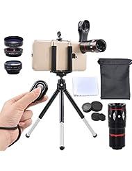 Apexel 4 in 1 Camera Lenses Kit 10x Telephoto + 198 Fisheye +...