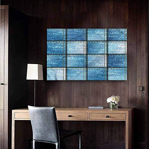 Gabriesl Waterproof Art Wall Paper Poster Blue Jean Pattern on Denim Color Restaurant Wall Size : W28 x H20
