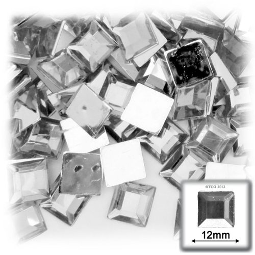 The Crafts Outlet 144-Piece Flat Back Loose Square Rhinestones, 12mm, Crystal Clear ()