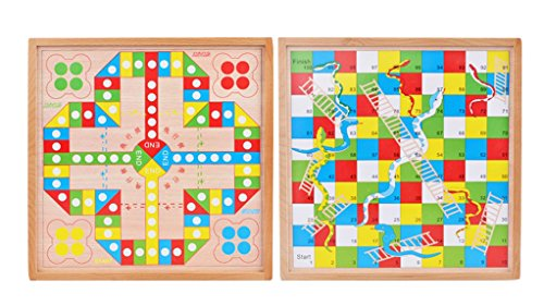 (CN'Dragon Aeroplane Chess Snakes And Ladders Two-in-one Wooden Children's Game Board Game Parent-child Interaction Play)