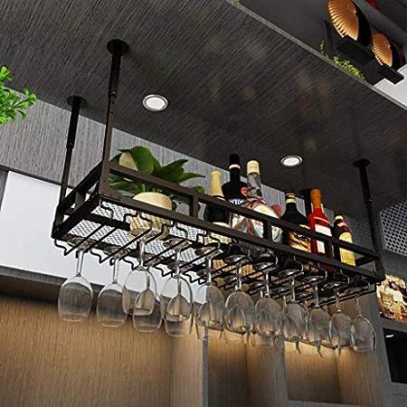 WLABCD Bar Barra de Vino Restaurante Montado en la Pared Botella de Vino Taller, Capa Individual Industrial Colgante Copa de Vino Tenedor Ajustable Altura Ajustable Decoración de Techo en Casa Estant