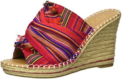 Stripe Espadrille Sandal (Sugar Women's Honora Slip-on Open Back Espadrille Wedge Sandal, Red/Multi Stripe, 8 M US)