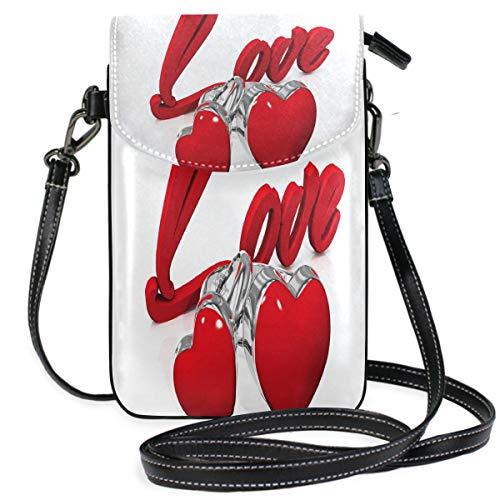 acb6686ef3d9 Heart Touching Small Crossbody Bag Cell Phone Purse Womens Cute Leater  Handbag