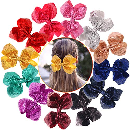 12Pcs Party Bows Hair Clips For Girls Glitter Sequins Boutique Hair Bows Alligator Clips Hair Barrettes For Toddlers Kids Teens Children Accessory (8 Inch) (Sequin Large Bow)