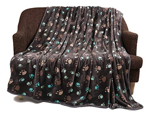 (luciphia Super Soft Premium Fluffy Fleece Dog Blankets for Puppy Cat Pets Paw Grey,X-Large(78