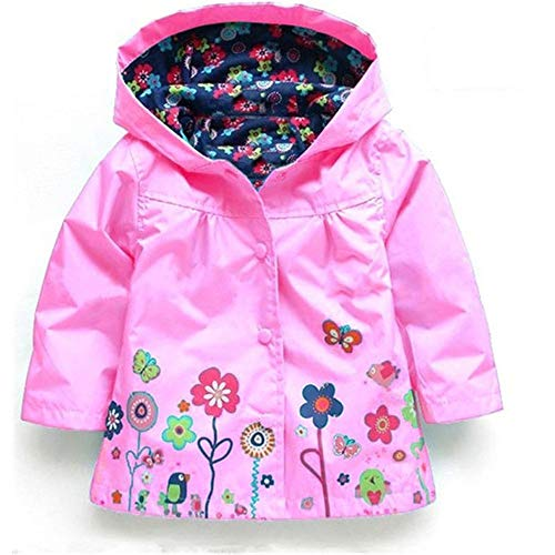 AMSKY Baby Clothes Boy 12-18 Months Cheap,Girls Clothe Jacket Kids Raincoat Coat Hoode Outerwear Children Clothing Jacket,Pink,110 by AMSKY