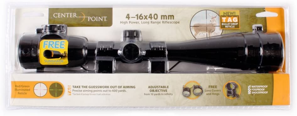 1. CenterPoint LR416AORG2 4-16x40mm Rifle Scope