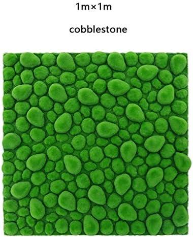 人工芝草ロール、模擬グリーン小石モスマット3個1mx 1m (Size : 2pack)