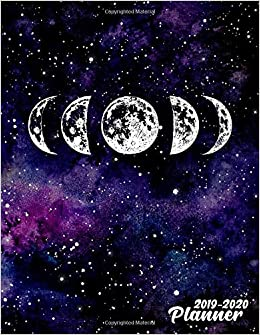 2019-2020 Planner: Pretty Phases of The Moon Galaxy Daily ...