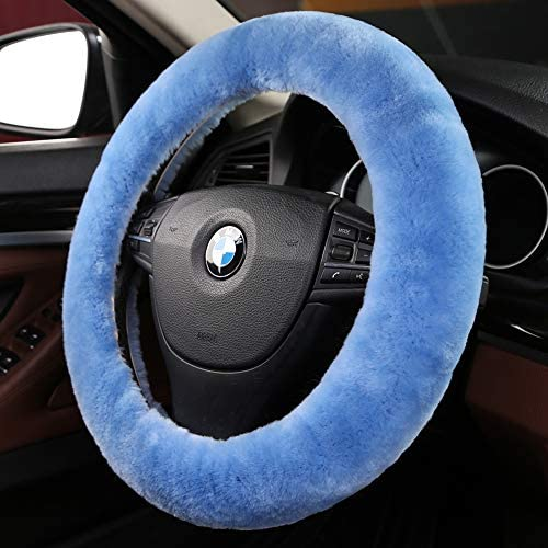 Fuzzy wool sheepskin Fur Blue car steering wheel cover for Adults girls women and menProtector for Universal Steering Wheel 35CM-42CM Anti-SlipComforting and Luxurious Soft Texture (Sky Blue)