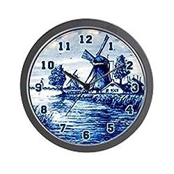 CafePress Blue and White Delft Style Unique Decorative 10 Wall Clock
