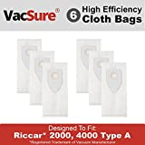 Riccar Hepa Vacuum Bags for Riccar 2000, 4000 Upright Vacuums By VacSure - 6 Pack