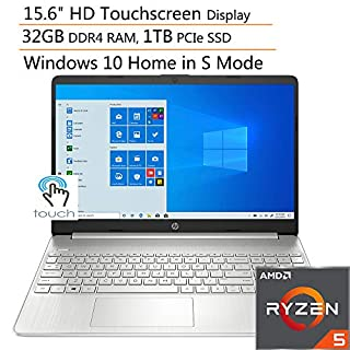 "HP 15 15.6"" Touchscreen Laptop Computer, Quad-Core AMD Ryzen 5 3500U up to 3.7GHz (Beats i7-7500U), 32GB DDR4 RAM, 1TB PCIe SSD, 802.11ac WiFi, Type-C, HDMI, Silver, Windows 10, iPuzzle Accessories"