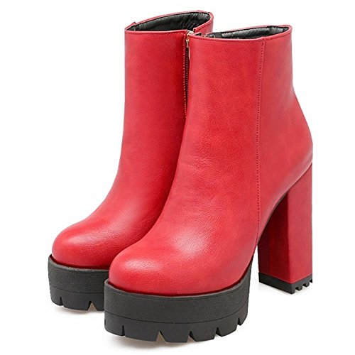 Red Platform Boots High Shoes Heel TAOFFEN Chunky Women Western qHR8YR