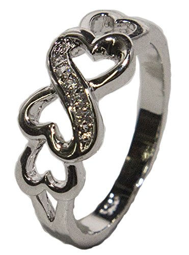 - Women's Rhodium Plated Dress Ring Interlocking Hearts with CZ 022 (8)