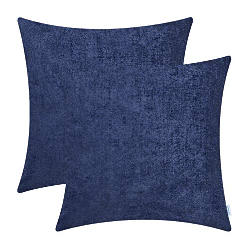 CaliTime Pack of 2 Cozy Throw Pillow Covers Cases for Couch Sofa Home Decoration Solid Dyed Soft Chenille 18 X 18 Inches Navy Blue