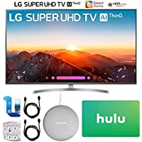 LG 55SK8000PUA 55 Class 4K HDR Smart LED AI Super UHD TV w/ThinQ (2018) + Google Home Mini - Chalk + Hulu $100 Gift Card + 2X HDMI Cable + Screen Cleaner + SurgePro 6-Outlet Surge Adapter