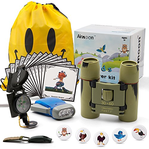 Airmoon Outdoor Adventure Set for Kids - Explorer Kit, Educational Toys, Binoculars, Flashlight, Compass,Bird Stamp,Bird Learning Cards, Whistle, Gift Set for Camping Hiking Backyard