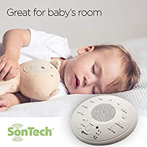 SonWave – White Noise Sound Machine – 10 Natural Soothing Sound Tracks Home, Office, Travel, Baby – Multiple Timer Settings – Battery or Adapter Charging Options