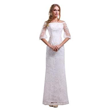 Nameilisha Sheath White Lace Bridal Gowns Off the Shoulder Wedding ...