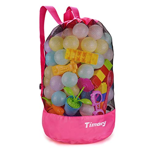 Large Mesh Beach Bag, Timoey Durable Double Shoulder Strap bag, Tote Sand Away Drawstring Beach Backpack Swim And Child Toys Balls Storage Bags Packs, keep dry, Toy Not Include Pink