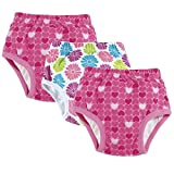 Little Girl Potty Training Pants 3-Pack - Pink Floral and Hearts - Size 3T