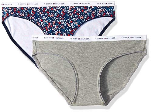 Tommy Hilfiger Women's Printed Cotton Bikini Underwear Panty, Multipack, Daisy Ditsy Navy Blazer Blue/Heather Grey - 2 Pack, Medium