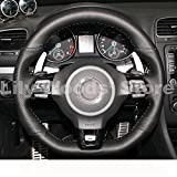 vw golf mk5 steering wheel - Loncky Black Genuine Leather Auto Custom steering wheel covers for 2010-2014 Volkswagen VW Mk6 Golf 6 GTI / 2012-2014 VW Jetta GLI / 2012 2013 VW Golf R / 2014-2016 VW Tiguan R-Line Accessories