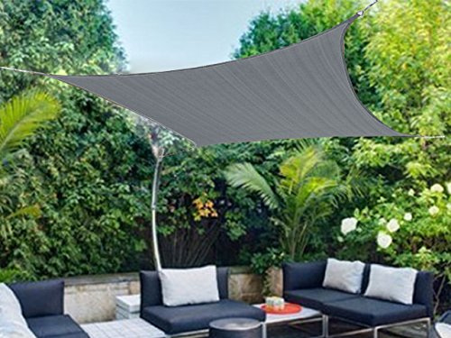 Shatex Rectangle Shade Sail UV Block Fabric 12x12ft Grey with Steel D-rings Grey for Outdoor, Patio,Backyard Facility and Activities by Shatex