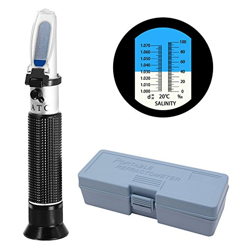 URlighting Salinity Refractometer Portable Seawater Salt Tester Specific Gravity Automatic Temperature Compensation Dual Scale Hydrometer for Pool Aquarium Fish Tank